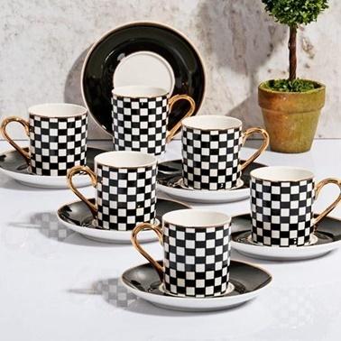 Kosova Porselen Ekose Siyah Kahve Fincan Takımı Siyah